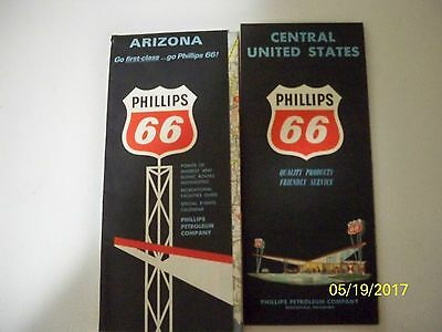 1963-65 Phillips 66 Oil Gas Service Station State of Arizona & Central US Maps