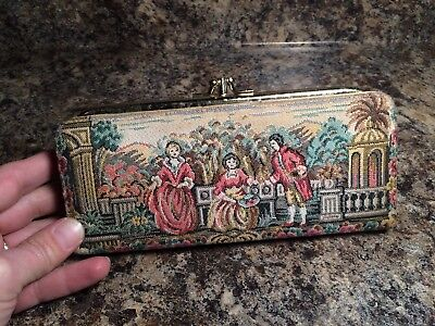 Vintage Baronet Embroidered Tapestry Wallet Clutch Coin Purse