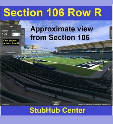 Los Angeles Chargers Oakland Raiders 12/31/17 2 tickets section 106 not endzone