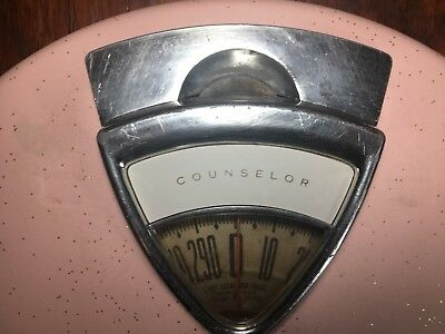 Pink Gold Glitter Atomic Mid Century Counselor Bathroom Scale VTG Retro 50s 60s