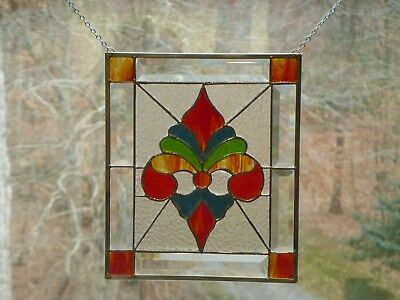 Colorful Fancy Fleur de lis Stained glass and Beveled Panel-Handmade #149