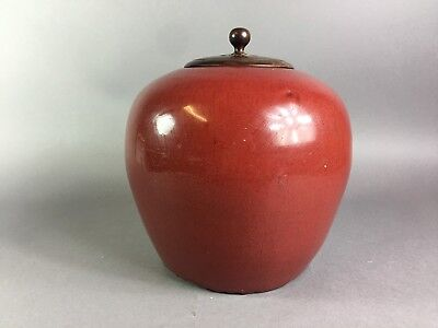 Antique Chinese Red Glazed Jar With Hardwood Cover 19Th Century