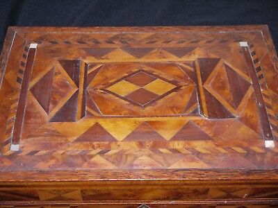 Antique Victorian Tunbridge? Marquetry Wood Box Fitted Interior Compartments Tea