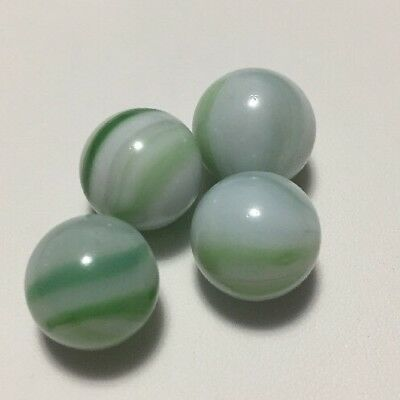 """Four Vintage White Glass, Opaque Clear & Green Striped 9/16"""" To 5/8"""" Marbles"""