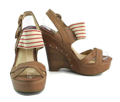 e426f7965af Gianni Bini Women s Brown Leather Ankle Strap Wooden Wedge Sandals Size ...