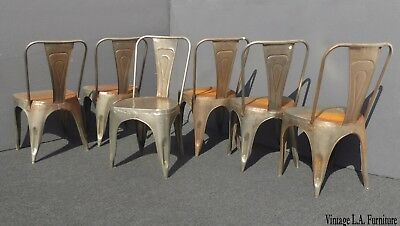 Six Unique Vintage Rustic Industrial Style Metal Dining Chairs Farmhouse Chic