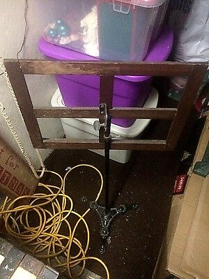 K&B Antique Music Sheet Stand Cast Iron Claw Feet Wood Holder Adjustable