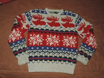 Ralph Lauren Vtg Hand Knit Thick Wool Moose Snowflake Sweater Boys XL Ladies S