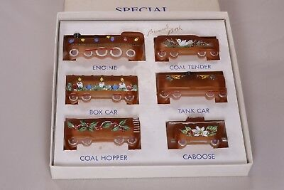 Boyd Special Glass Train Set Hand-painted Honeycomb Satin 2010 Christmas Signed