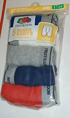 5 Pack Boys Boxer Briefs Small 6-8 Fruit Of The Loom New Boxers Underwear