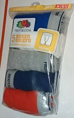 5 Pack Boys Boxer Briefs Medium 10-12 New Fruit Of The Loom Underwear Boxers