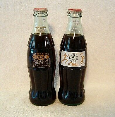 1996 Atlanta OLYMPICS -- 2 Coca-Cola COKE Bottles - 100 Years / Olympic Spirit