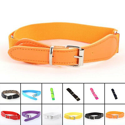 Children's Kids Candy Color Decoration Elastic Band Belt With Buckles Waistband#