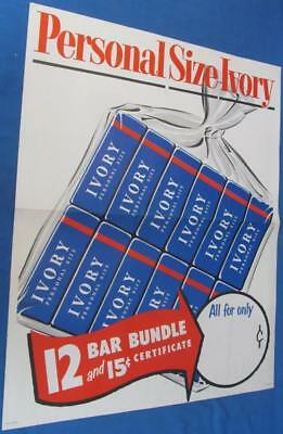 Vintage Store Poster Ivory Soap Advertising Sign Antique Paper Household Ads