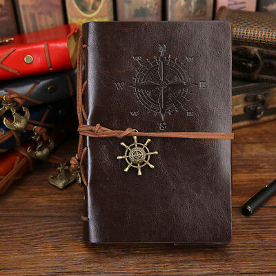 Notebook Leather Writing Journal Unlined Embossed Spiral Travel Blank Diary