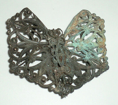 Antique Vintage Edwardian Nouveau Green Patina Buckle Ornate Brass Butterfly
