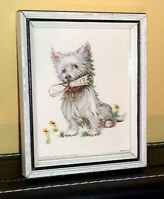 Vintage Picture Westie / Scotty dog with newspaper, 1956 Donald Art Co.