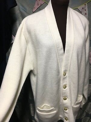VTG AMF Cardigan Varsity Letterman Sweater Men Size 44 ivory original never worn