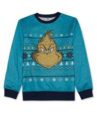 Nwt Dr Seuss Grinch Ugly Christmas Sweater Pullover Sweatshirt Youth Boys S-Xl
