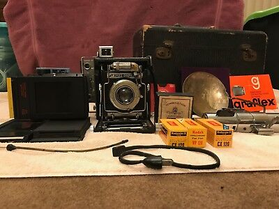 VINTAGE GRAFLEX SPEED GRAPHIC 4x5 CAMERA w/ LOTS OF EXTRAS!