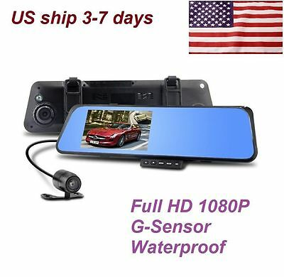 "HD 4.3"" 1080P Dual Len Video Recorder Dash Cam Rearview Mirror Car Camera DUL"