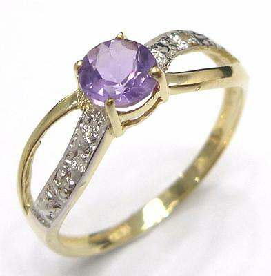New 9Kt Yellow Gold Round Amethyst & Diamond Ring Size 7     R855