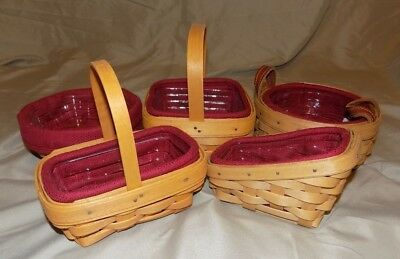 ******LOT of 5 SM LONGABERGER HANDMADE BASKETS w/ FABRIC & LINERS ALL FROM 2000s