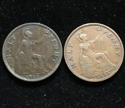 TWO GREAT BRITAIN HALF PENNY COINS 1925 & 1936 Lot WC7