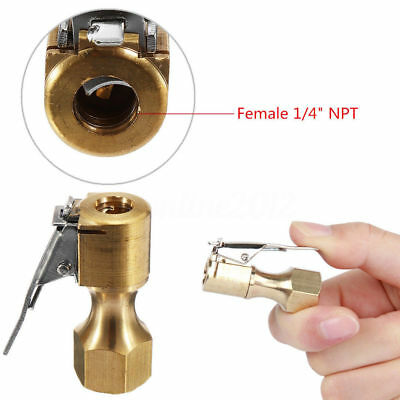 High Quality Brass Clip-On Car Air Chuck Inflator Valve Straight Female 1/4''NPT