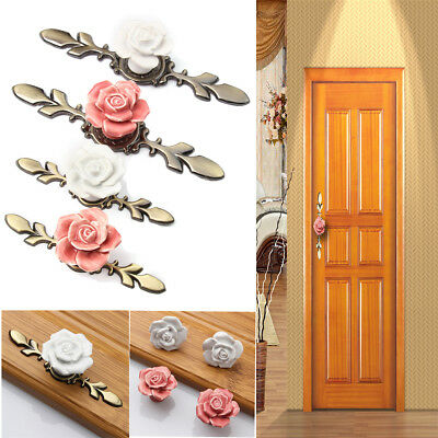 Vintage Rose Flowers Ceramic Door Knob Handle Retro Cabinet Drawer Cupboard Pull