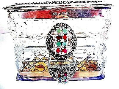 EARTH MINED RUBY & EMERALD MARCASITE RING   ~   ART NOUVEAU Style ~ STERLING 925