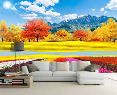 Rosy Yellow Field 3D Full Wall Mural Photo Wallpaper Printing Home Kids Decor