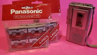 Panasonic Microcassette Recorder Bundle New Tapes 2 Speed Fast Play Mod. RN-130