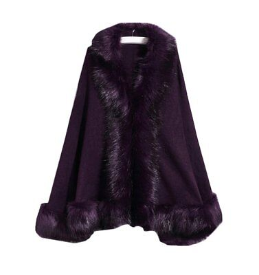 Women's Faux Fur Wrap Shawls for Wedding Dresses and Party Winter Capes Purple