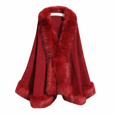 Women's Faux Fur Wrap Shawls for Wedding Dresses and Party Winter Capes Maroon