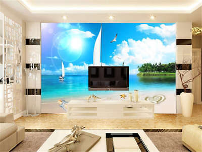 Concise Blue Sea 3D Full Wall Mural Photo Wallpaper Printing Home Kids Decor