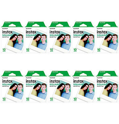 10 Packs 100 Instant Photos FujiFilm Instax SQUARE Film Polaroid Camera For SQ20