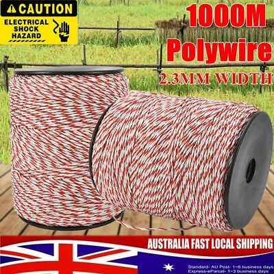 1000m Roll Poly Rope Highly Visible Electric Fence Energiser Red White Polywire