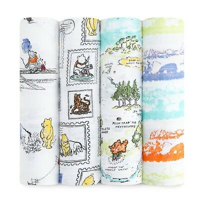 aden and anais disney winnie the pooh muslin swaddles 4-pack