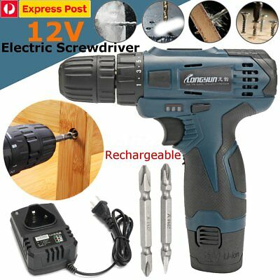 Pro 0-1350R/min 12V Power Tool LED Cordless Drill Battery Electric Screwdriver