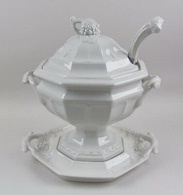 Red Cliff Ironstone GRAPE Octagonal Tureen with Lid, Under Plate, and Ladle
