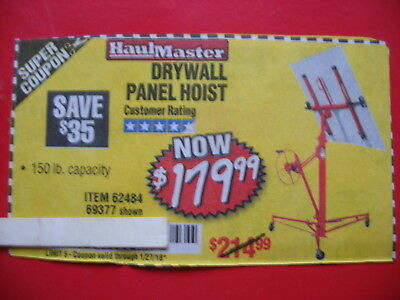 HARBOR FREIGHT SAVE $35 ***COUPON*** FOR drywall panel hoist