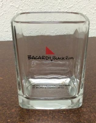 Bacardi Black Rum Set of (4) Square Lowball On The Rocks Glasses Must See N.R.