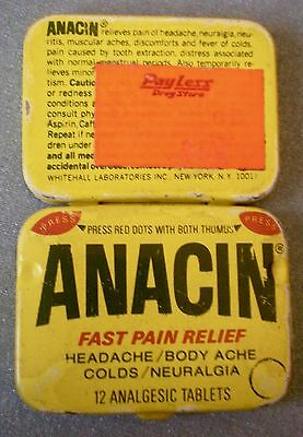 Old Vtg Collectible ANACIN Fast Pain Relief Medicine 12 Tablet Tin Container