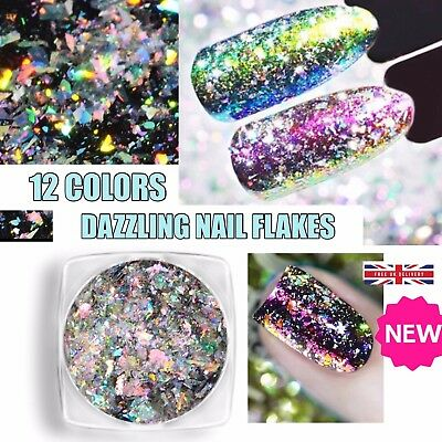 DAZZLING Aurora Chameleon Nail Flakes Holographic Shining Nails Powder Sequins