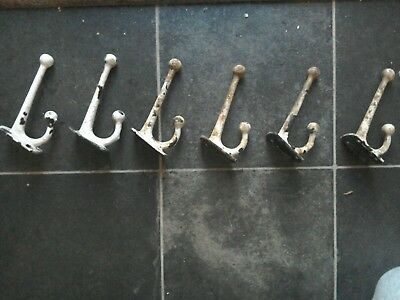 Six antique reclaimed cast iron coat hooks shabby industrial different shape...