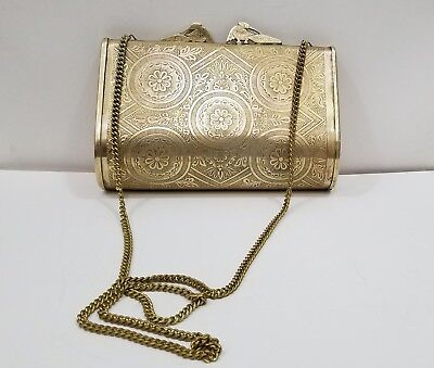 Vintage Solid Brass Bird Clasp Hardshell Embossed Clutch Purse w/ Shoulder Chain