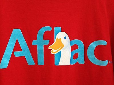 Red AFLAC Duck Tshirt 100% Cotton Printed front and back XL Advertising Novelty