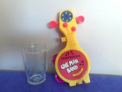 THE FLINTSTONES Vintage 1964 Welch GLASS  &1978 Banjo One Man Band Toy