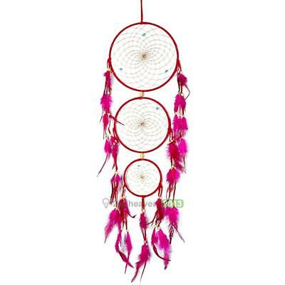 Traditional Rose Red Dream Catcher with Feathers Wall or Car Hanging Ornament